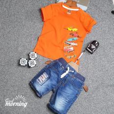 Áo thun cam + Quần Jean lửng Kidstyle ( Size 2-8) bé 10-24 kg