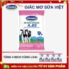 Thùng 48 bịch sữa dinh dưỡng Vinamilk dâu 220ml + Tặng 4 bịch cùng loại