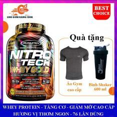 [TẶNG BÌNH VÀ ÁO GYM ĐỦ SIZE] Sữa tăng cơ giảm mỡ Nitro Tech 100% Whey Gold của Muscle tech hộp 2.5kg 76 lần dùng hỗ trợ tăng cơ giảm cân đốt mỡ cao cấp, tăng sức bền sức mạnh cho người tập gym và chơi thể thao