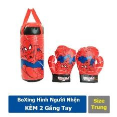 Túi Đấm Bốc Boxing Người Nhện + Tặng 2 Găng Tay Cho Bé chất liệu da mềm an toàn cho bé khi chơi (Size Trung)