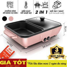Nồi lẩu điện mini 2 ngăn đa năng, Nồi nướng điện siêu tốc chống dính thế hệ mới, tiết kiệm điện, Bếp lẩu nướng đa năng 2 trong 1, Bếp nướng 2 ngăn, Nồi lẩu kèm bếp nướng