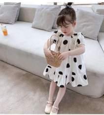 Váy đầm bé gái chấm bi đỏ đen Baby Doll NƠ LƯNG XHN294