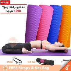 Thảm tập Yoga Cao Cấp 10mm TPE Hàn Quốc(Tặng Kèm Túi Đựng Và Dây Buộc Thảm Sang Trọng)