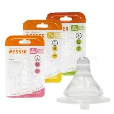 Núm vú bình sữa cổ rộng Wesser size S/M/L vỉ 2 núm siêu mềm chống sặc – BEEKIDS PLAZA