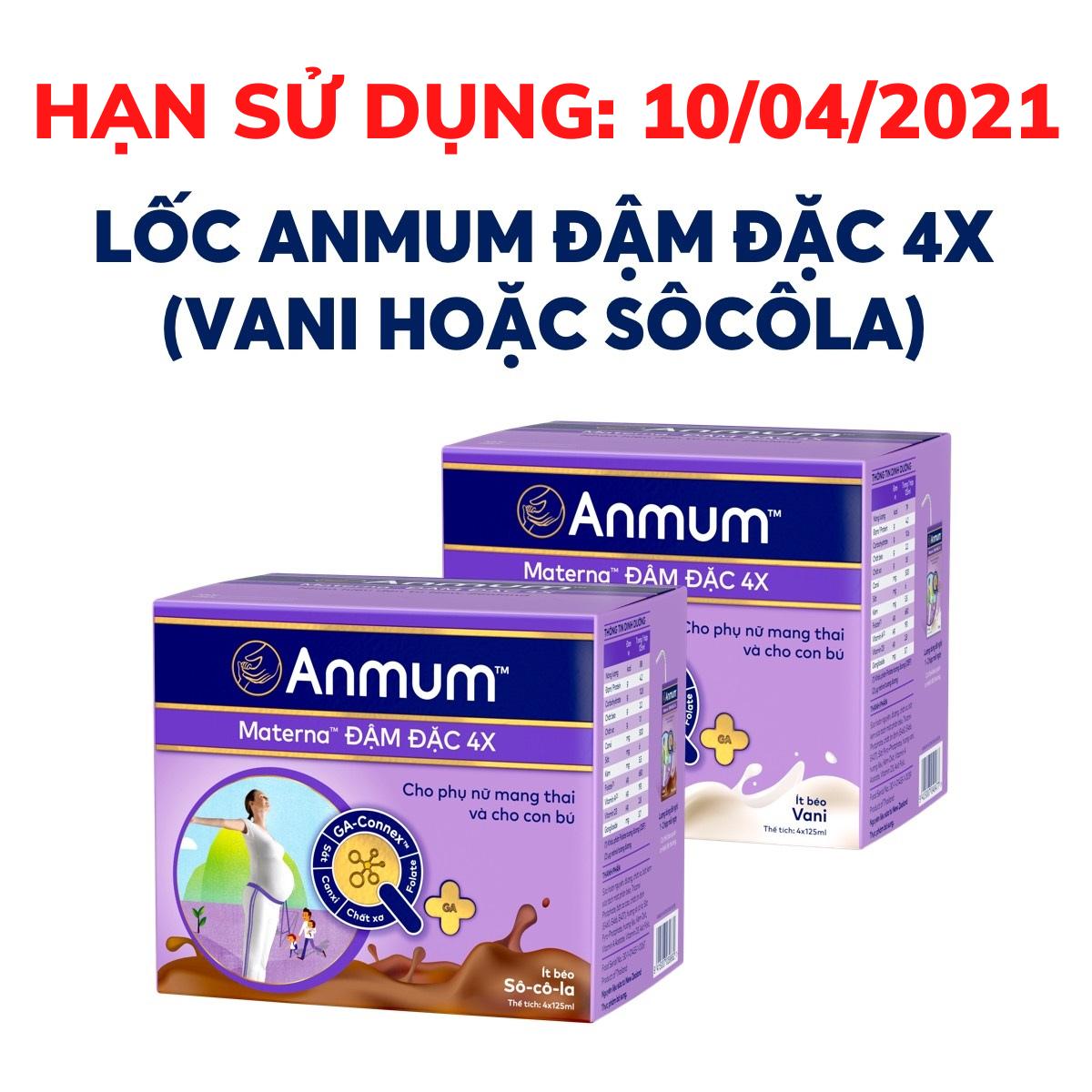 Sữa nước Anmum Materna Đậm đặc 4X (hương ngẫu nhiên) (hạn sử dụng: 10/04/2021)