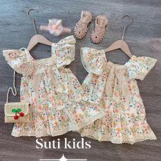 Váy cánh tiên hoa nơ ren cho bé gái