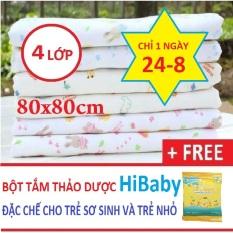 (KÈM QUÀ TẶNG) Khăn xô tắm 4 lớp in hình xuất Nhật cho bé trai bé gái (khăn xô hình, khăn tắm hoa), khăn quấn ủ bé