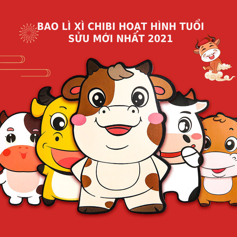 [10 CÁI ] Bao lì xì chibi hoạt hình đáng yêu cho bé mẫu Trâu mới nhất 2021, nhiều mẫu hoạt hình dễ thương