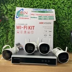 Bộ KIT Camera Wifi 2.0mb Hikvision 1 Đầu 7104NI-K1/W/M 4 camera IP WIFI : DS-2CV1021G0-IDW1 Không Dây Ngoài Trời Tiện Dụng Cắm Là Chạy.