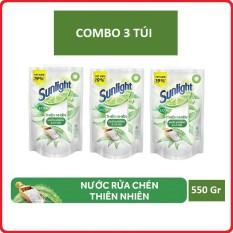 Combo 3 túi nước rửa chén Sunlight thiên nhiên 550g túi (hàng km) cam kết hàng đúng mô tả sản xuất theo công nghệ hiện đại an toàn cho người sử dụng