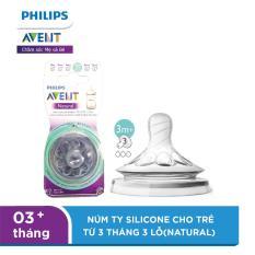 Núm ty Silicone Philips Avent trẻ từ 3 tháng 2 lỗ – tốc độ dòng chảy mức 3 (natural) SCF653/23