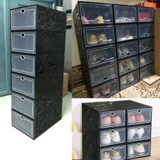Combo 10 Hộp Đựng Giày Dép Lắp Ghép, Tủ Giày Nắp Nhựa Cứng Đen Full Cá Tính ( Lẻ )