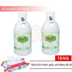 Bộ 2 chai Nước tắm thảo dược ELEMIS 200ml cho trẻ sơ sinh chống rôm sẩy tặng 1 bịch khăn ướt 80 tờ