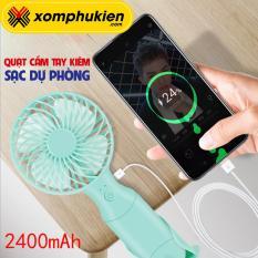 Quạt mini cầm tay kiêm sạc dự phòng 2400mah N10 3 cấp độ gió có đế dựng quạt cầm tay dung lượng pin lớn thời gian sử dụng 3-10h