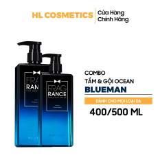 Combo Tắm & Gội Hương OCEAN BLUEMAN Nước Hoa Siêu Thơm 500ml+400ml
