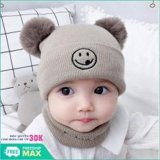 [HÀNG MỚI VỀ] Mũ len trẻ em 2 cục bông kèm khăn quàng cổ cho bé dưới 3 tuổi, Set mũ tặng kèm khăn ống cục bông hàng xịn cho bé gái bé trai 0-36 tháng, Combo Bộ mũ len và khăn ống quàng cổ cho bé yêu kiểu dáng Hàn Quốc