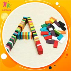 Domino 120 thanh bằng gỗ nhiều màu kích thước 4,4cm – Đồ chơi trẻ em xếp hình an toàn cho bé từ 2 tuổi phát triển tư duy logic thông minh