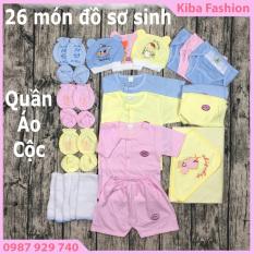combo 26 món đồ cho bé sơ sinh ( 3 bộ quần áo CỘC TAY + 3 mũ, nón + 10 tã dán + 3 cặp bao tay, 3 bao chân +1 chăn ủ )