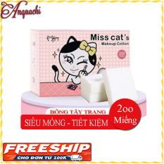 Bông tẩy trang Miss Cat's 200 miếng SIÊU MỎNG – SIÊU TIẾT KIỆM dùng để tẩy trang, lau nước hoa hồng, dưỡng lotion – Anquachi – Mỹ phẩm Hàn Quốc