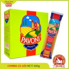 1 thùng Mì Ý Pavoni 400gram (25 gói) – Spaghetti – Tiết kiệm hơn