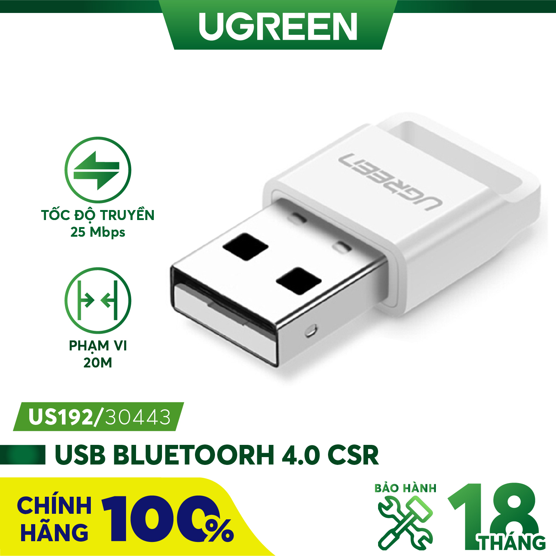 USB Bluetooth 4.0 CSR UGREEN US192 - Hỗ trợ aptX dùng cho máy tính để bàn hoặc laptop phạm vi...