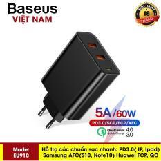 Củ sạc siêu nhanh Baseus ( EU910 ) công xuất 60W Sạc Nhanh Quick Charge 4.0 3.0 2 cổng USB Đa Năng Sạc Cho iPhone Xiaomi Samsung Huawei SCP QC4.0 QC3.0 QC Cổng PD sạc siêu nhanh