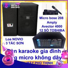 Dàn karaoke gia đình Dàn karaoke gia đình hay, Dàn karaoke giá rẻ CẶP LOA NOVIO 3 TẤC SƠN VÀ AMPLY KARAOKE AVECTOR 4000 TẶNG 2 MICRO KHÔNG DÂY