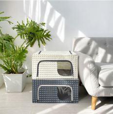 Hộp đựng quần áo khung thép gấp gọn tiện ích 56 Lít – Túi đựng đồ đa năng Living box 56L