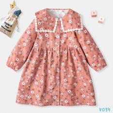 Váy Dạ Thu Đông Cho Bé Chất Liệu Cao Cấp Cổ Bẻ Hoa Nhí BELLO LAND