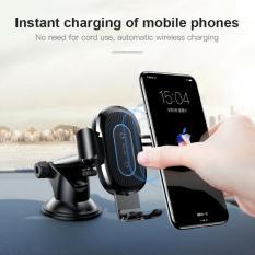 Bộ đế giữ điện thoại Baseus tích hợp sạc không dây dùng cho xe hơi hỗ trợ iPhone 8/8Plus /X/XS/Xs Max, Samsung S7/8/9