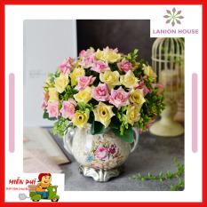 1 cành 10 bông hoa hồng lụa- hoa giả trang trí – hoa lụa cao cấp trang trí bàn ăn, trang trí bàn tiệc, phòng khách, hoa giả trang trí, hoa giả treo tường, hoa giả để bàn, hoa giả cao cấp MS 21 – Lanion house