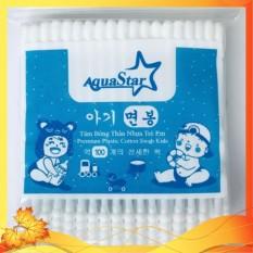 Tăm Bông Kháng Khuẩn Cao Cấp Trẻ Em Bịch 100 Que Nhựa 2 Đầu Tròn Xoắn Aquastar- Công Nghệ Korea
