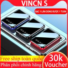 SẠC DỰ PHÒNG 10000mah MINI có đồng hồ led hiện thị dung lượng pin pin sạc nhanh mặt gương cao cấp