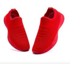 Giày thể thao lười nam vải cotton thoáng mát siêu mềm màu đỏ