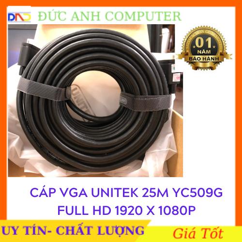 Cáp Vga UNITEK 25M (YC 509G)- Chính Hãng 100%, Bảo Hành 12 Tháng – 1 Đổi 1- Dây Cao Cấp Hỗ Trợ Độ Phân Giải Cao Lên Tới 1920x1080P full HD.