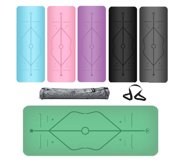 Thảm Tập Yoga Định Tuyến Da PU 5mm Màu Xanh Lá+ Kèm Túi Đựng Cao Cấp và Dây Buộc Thảm Yoga Thảm Tập Gym Định Tuyến Da PU