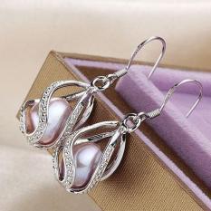 trang sức lồng ngọc trai hot: bông tai thả sành điệu(TÍM)