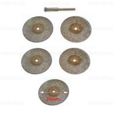 Bộ 5 đá mài cắt bằng hợp kim 35mm + 1 trục nối chân 3mm
