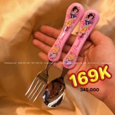 Set muỗng và nĩa inox hình công chúa Disney Princess màu hồng cho bé gái ăn uống – DP2123