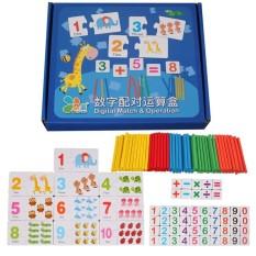 Bộ thẻ học ghép số kèm que tính giúp bé học đếm – đồ chơi toán học Montessori