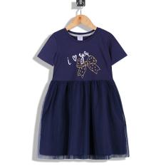 Váy Đầm Công Chúa Bé Gái Tay ngắn Tùng Xòe Nhún 2 lớp Vole In Nơ Kim Tuyến , 14-38 kg – MEEJENA -1911