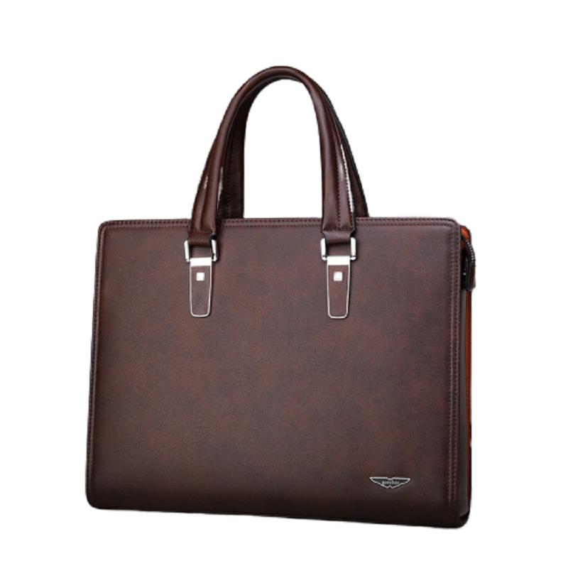 Túi xách cặp da bò khóa số T43 38x28x7cm công sở đựng laptop 14inch (Nâu-Đen)