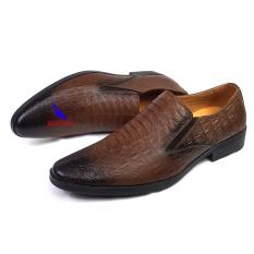 Giày lười nam da bò Giầy vân cá sấu cực đẹp mẫu mới nhất 2020 Giày công sở giày doanh nhân kinh doanh hàng hiệu L-12 màu nâu