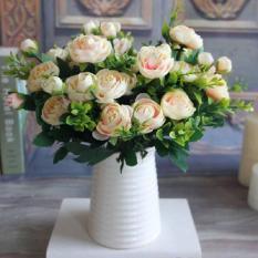 1 cành Hoa hồng Châu Âu -hoa hồng giả cao cấp-hoa lụa trang trí sang trọng