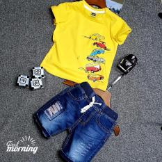 Áo thun Vàng + Quần Jean lửng Kidstyle ( Size 9-14) bé 26-42 kg