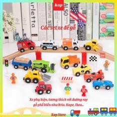 Set 3 xe công cứu hỏa, cấp cứu, công trình, nông trường, xe phụ kiện đường ray xe lửa gỗ
