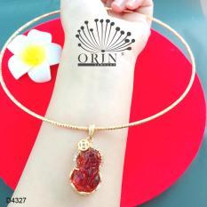 Kiềng cổ dạng nhuyễn bền màu mặt tỳ hưu may mắn tài lộc màu nâu đính đá thiết kế cao cấp Orin D4327