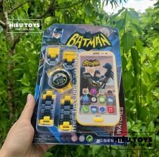 Bộ Đôi Đồng Hồ Và Điện Thoại Batman Chạy Pin Kèm Nhạc Đồ Chơi Điện Thoại Kèm Đồng Hồ cho bé trai