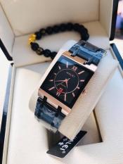 Đồng hồ nam Halei mặt vuông Full Đen viền đồng có lịch HL013a tặng vòng tì hưu