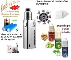 Bộ sản phẩm Vape_Box Tesla 90w – tank RDA tạo nhiều khói + Tặng 3 chai tinh dầu + 1 pin vape_18650 + 4 coils + 1 bịch bông Japan + 1 dây cáp sạc (bạc)